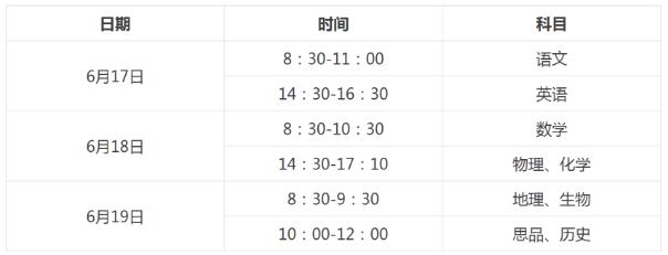 2018江西中考考试科目及时间安排