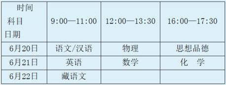 西藏2018中考时间及考试科目安排