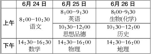 北京2018中考时间安排