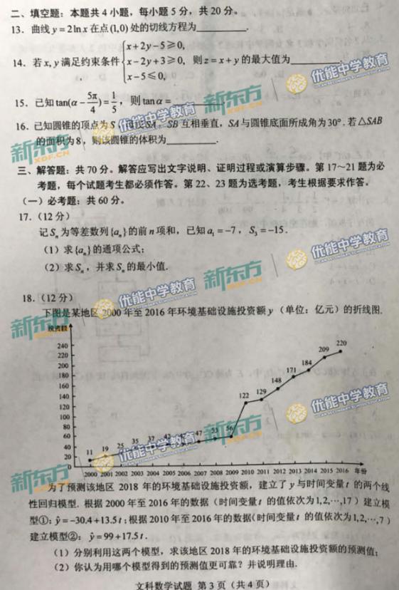 2018内蒙古高考文科数学试题【图片版】
