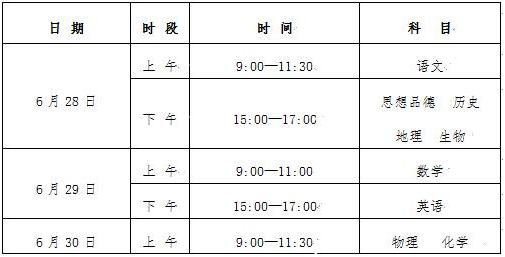 宁夏各市2018年中考时间