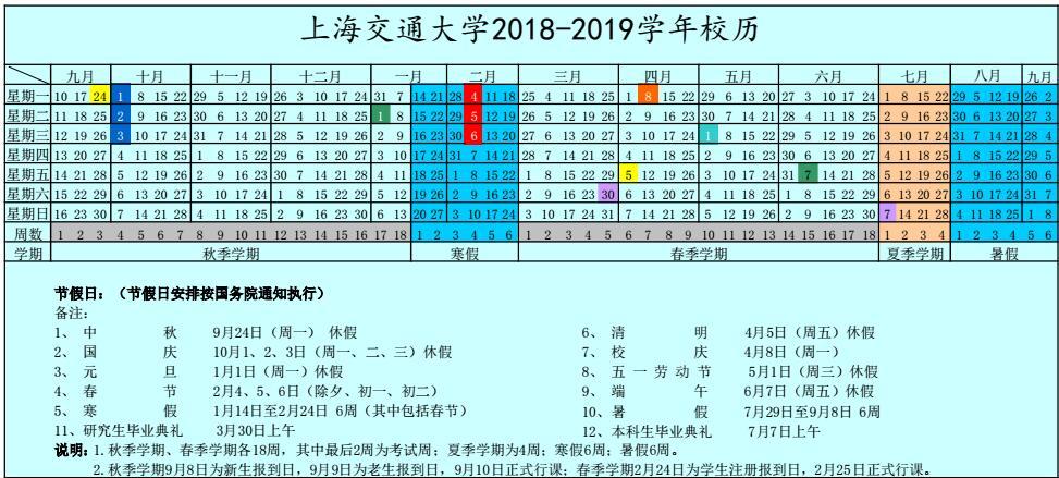 上海交通大学2018-2019学年校历安排