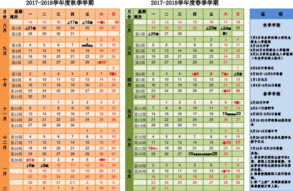 中国医科大学2017-2018学年校历安排