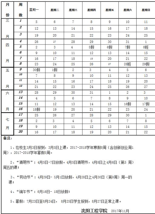 沈阳工程学院2017-2018学年校历安排
