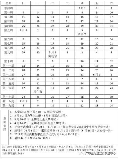 广州中医药大学2017-2018学年校历安排