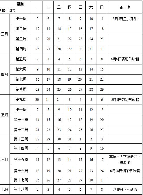邯郸学院2017-2018学年校历安排