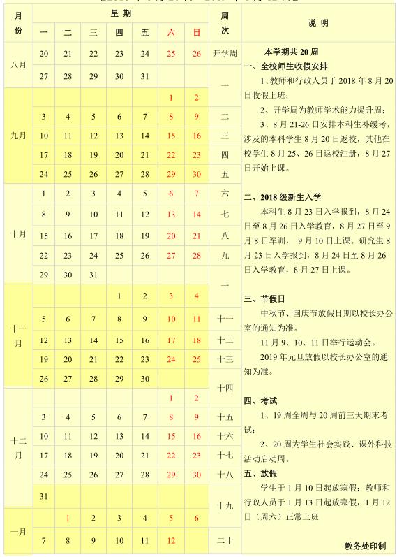 云南大学2018新生暑假开学时间
