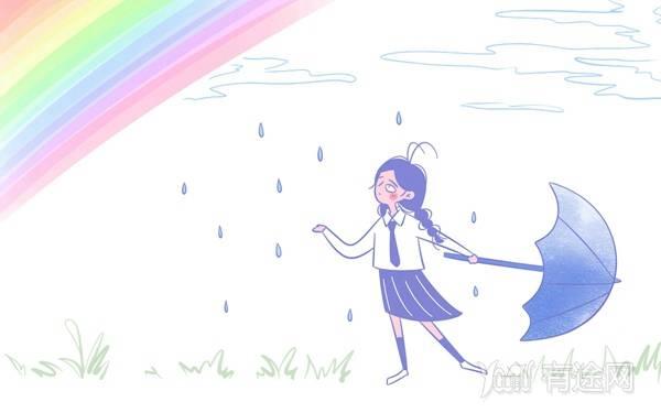 爱上雨天正能量图片