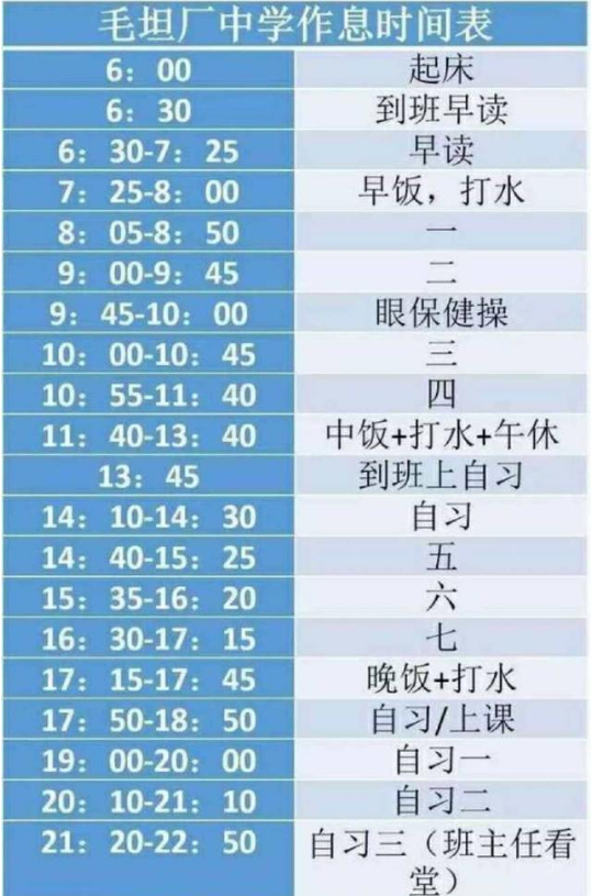 毛坦厂中学的作息时间安排表