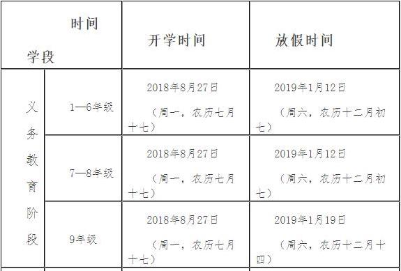 2019中小学寒假放假时间安排
