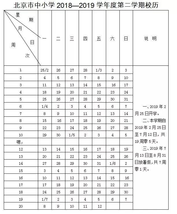 2019北京各小学寒假放假时间安排