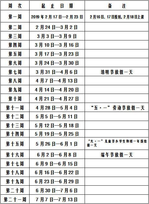 2019湖南各高中寒假放假时间安排