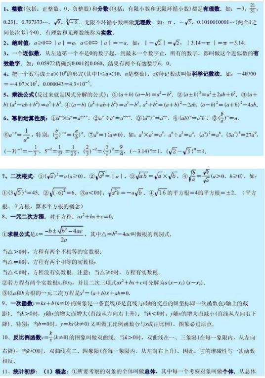 初中数学必背公式大全