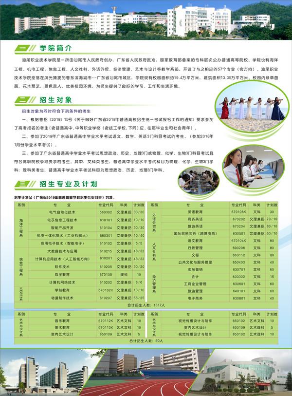 2019年汕尾职业技术学院高职自主招生简章 招生专业及