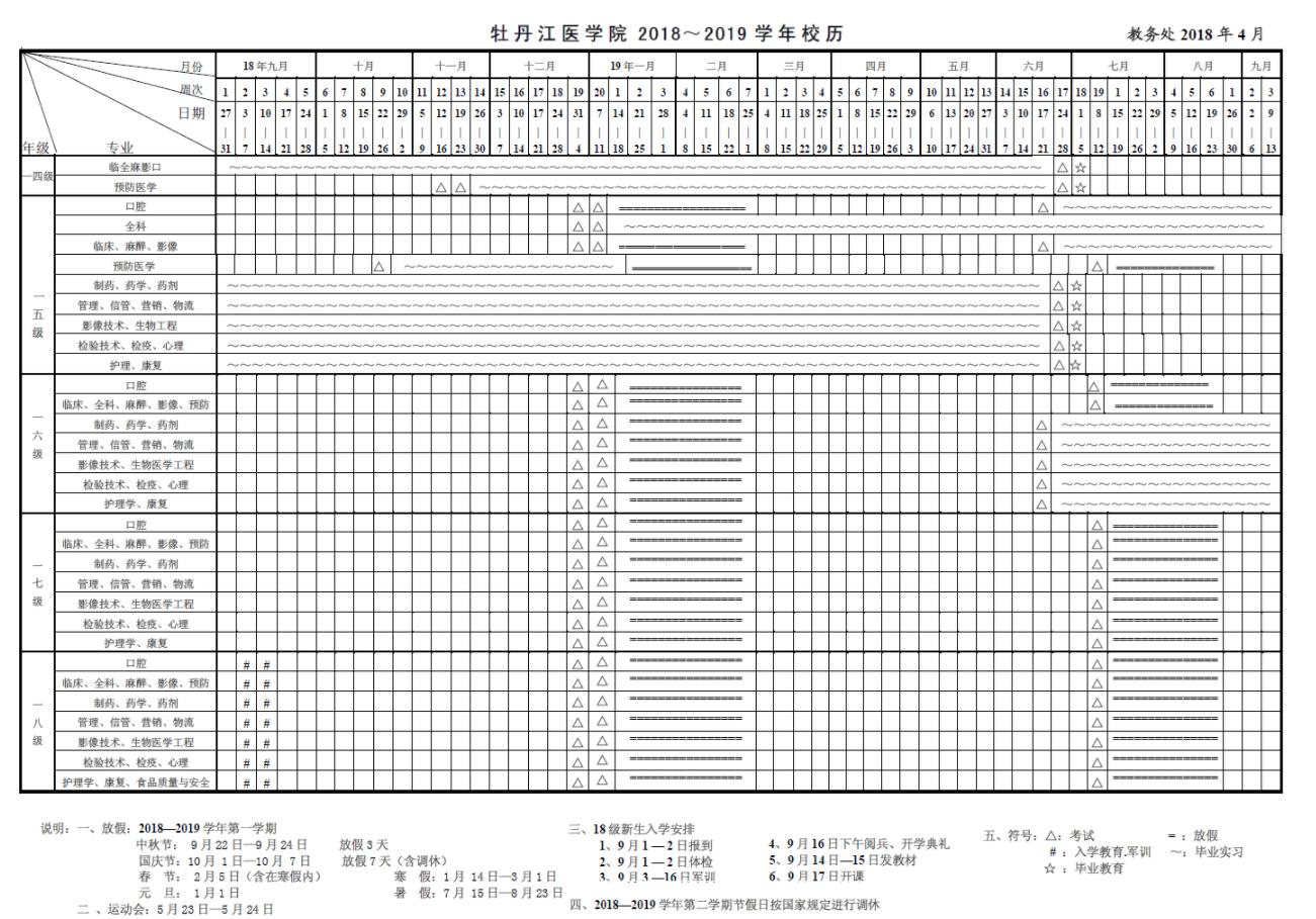 2019年牡丹江医学院暑假时间安排 什么时候放暑假