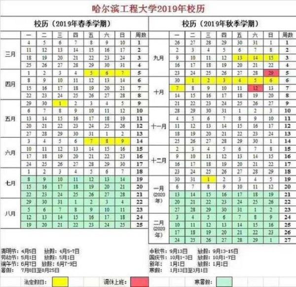 2019哈尔滨工程大学暑假时间安排