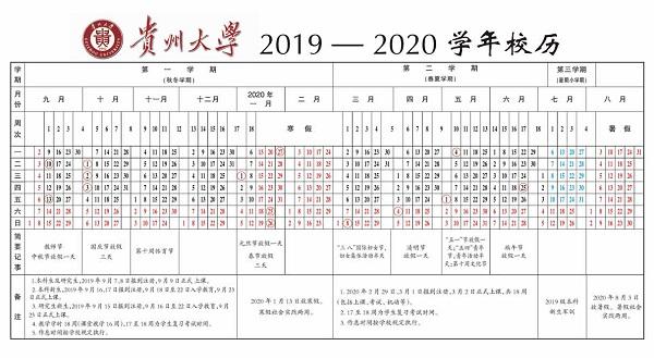 2019贵州大学暑假时间安排