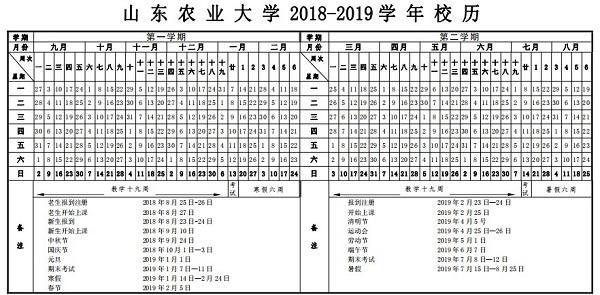 2019山東農業大學暑假時間安排
