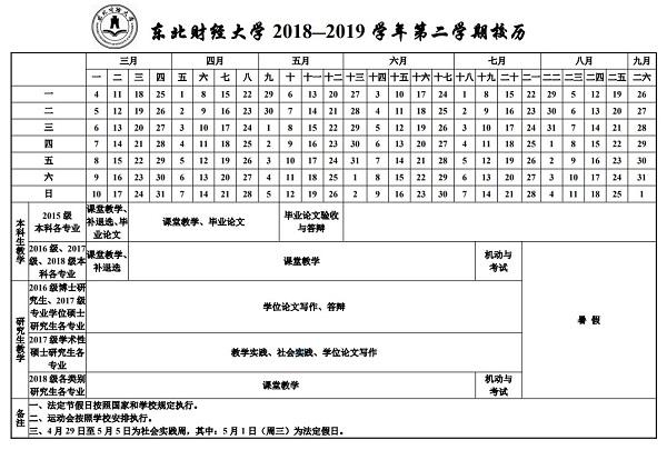 东北财经大学2019学年校历安排