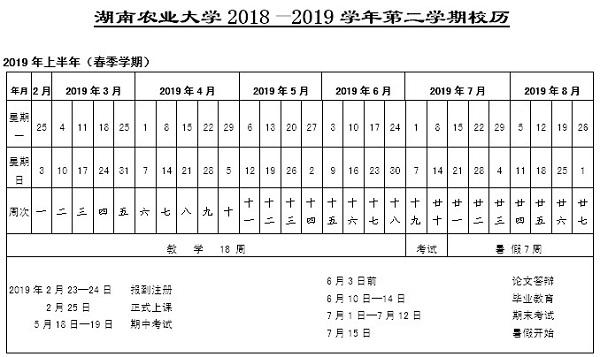 湖南农业大学2019年新生开学时间