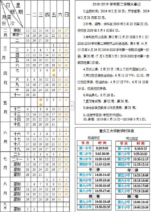 重庆理工大学2019暑假放假时间安排