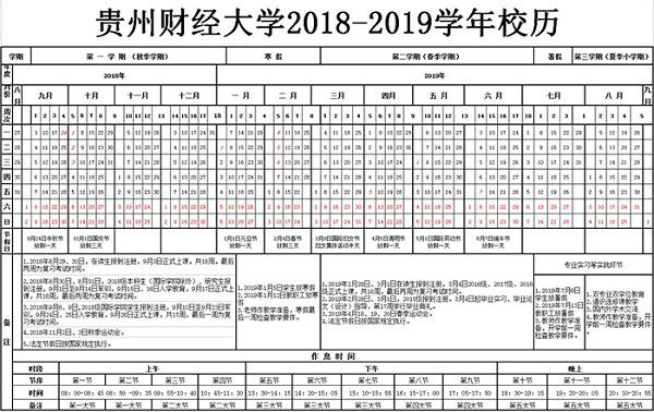 2019贵州财经大学暑假时间安排