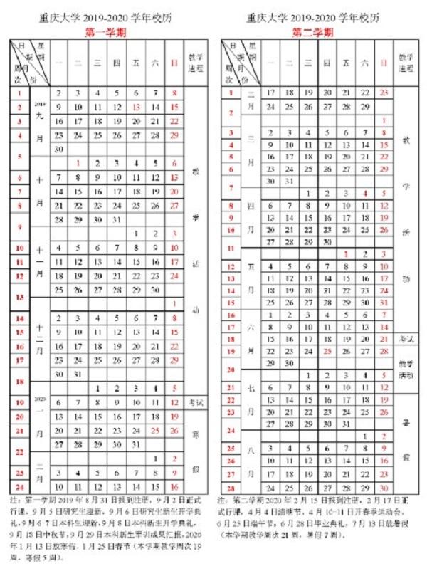 2019重庆大学新生开学时间