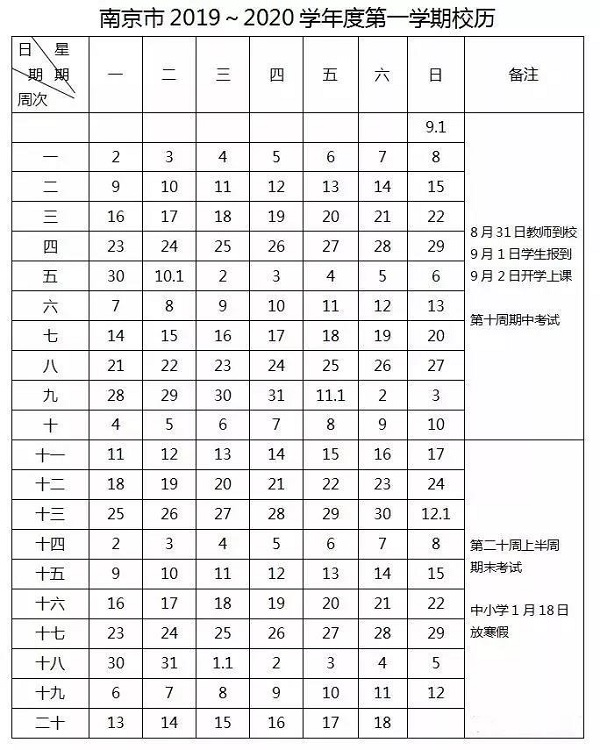 2020江苏南京中小学期末考试时间安排