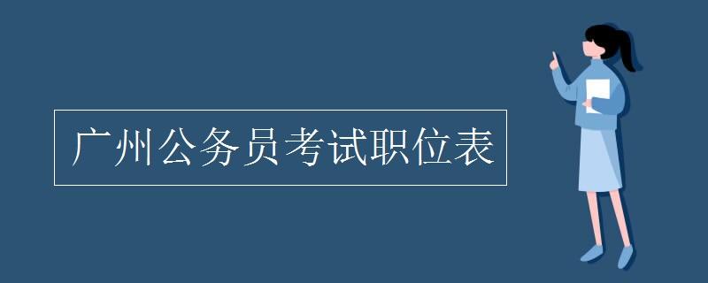 广州公务员考试职位表