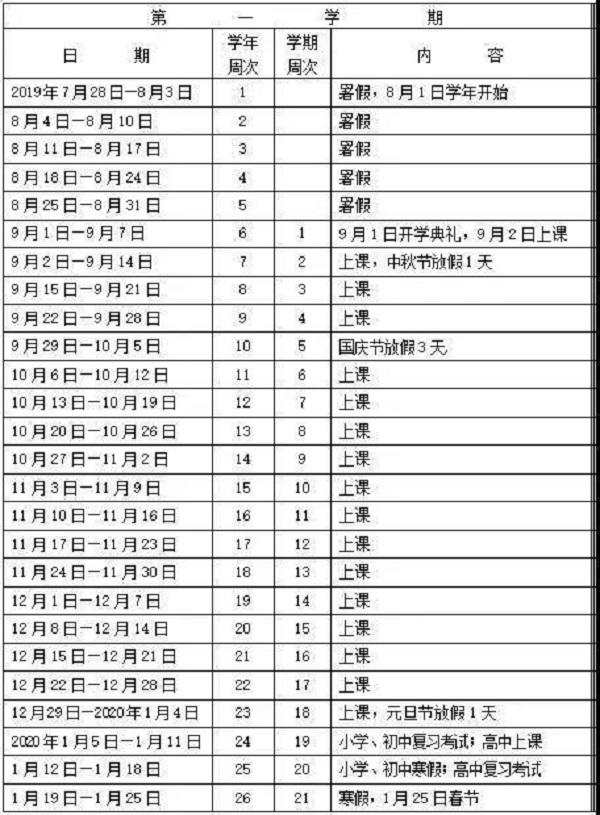 2019-2020学年汕头中小学校历