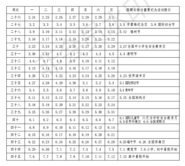 2019-2020学年山东中小学校历