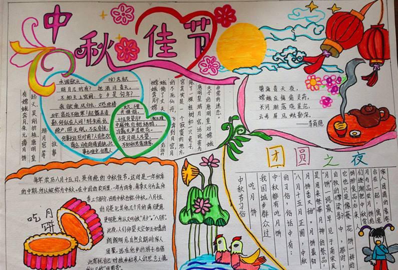 漂亮有创意的中秋节手抄报图片