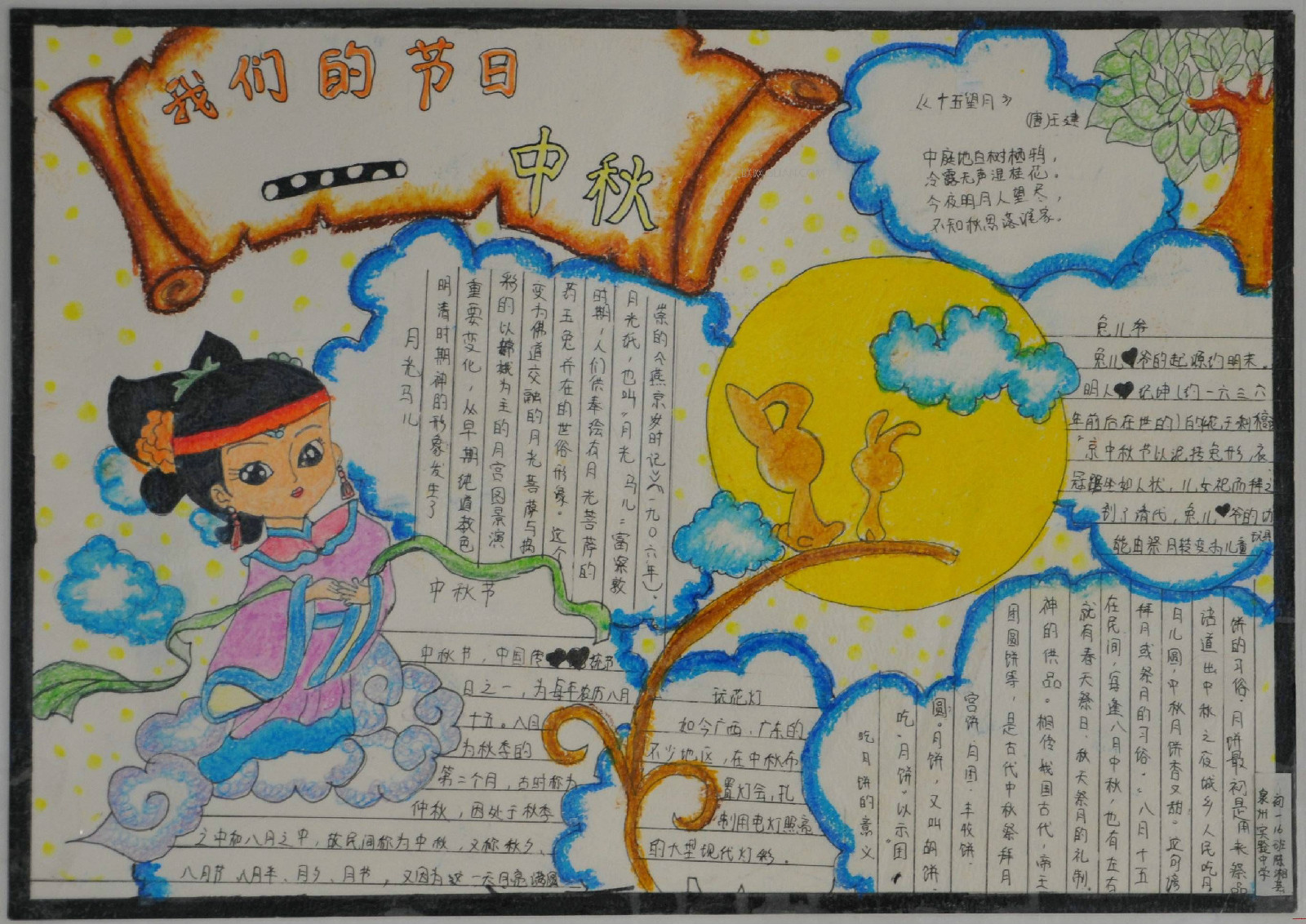 简洁漂亮的中秋节手抄报图片精选图片
