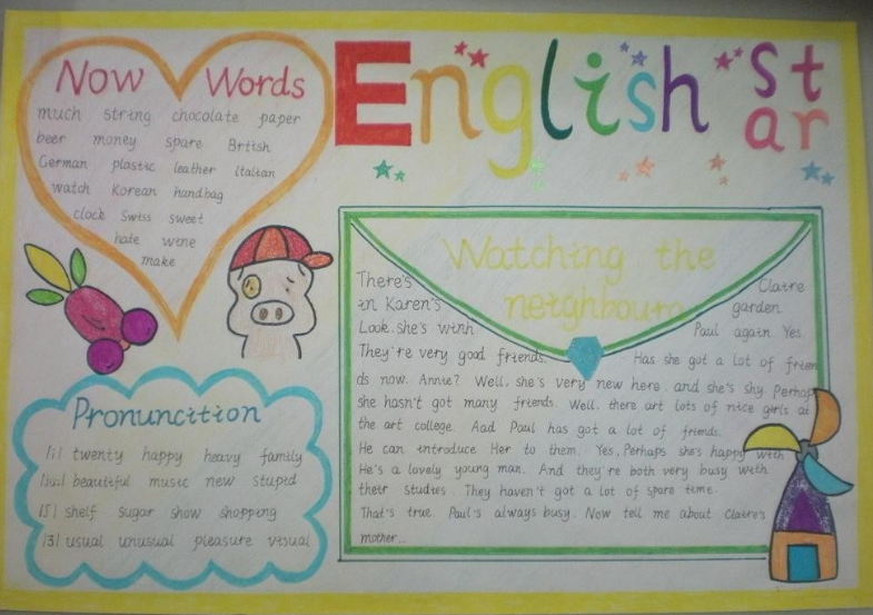 英语手抄报图片大全 26个字母可爱创意图片