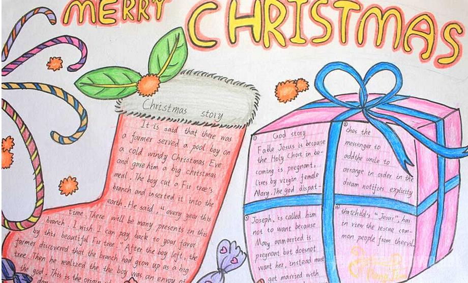 漂亮有创意的圣诞节英语手抄报