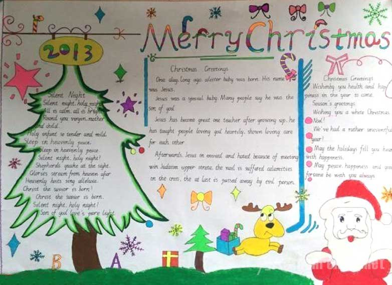 简单漂亮的圣诞节英语手抄报图片