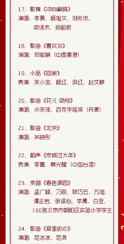 2018年北京衛視春晚節目單圖片